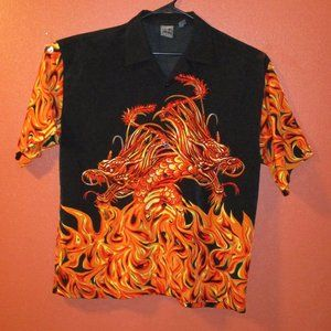 Authentic Shaolin Red Dragon Button Down Shirt